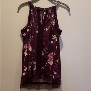 WHBM size M burgundy floral and lace top